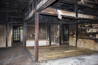 """Figure 44. The """"traditional"""" Japanese-style living space in the former Ji Ha-ryeon house. The former home of Korean writer Ji Ha-ryeon, despite being heavily damaged by a fire sometime in the 2010s, remains an exquisite extant example of a culture house floorplan. Source: Photographed by Nate Kornegay, 2015."""
