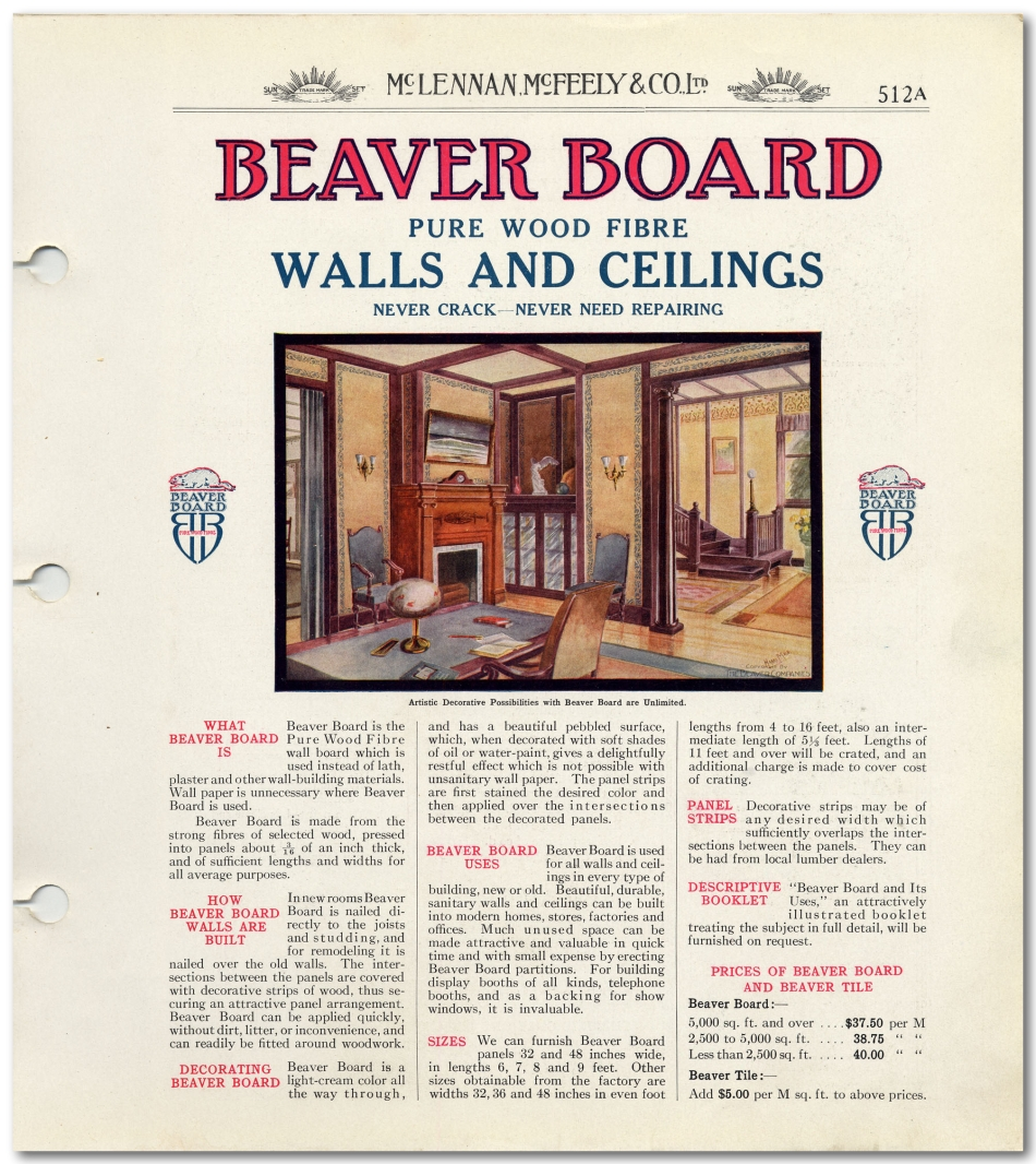 Beaver Board Ad - McLennan, McFeely & Co., Ltd. Catalogue 1908-1914 - City of Vancouver Archives